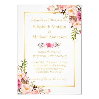エレガントな花のシックな金ゴールドの白くフォーマルな結婚式 カード