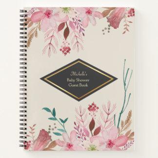 エレガントな花のベビーシャワーのゲストのノート ノートブック