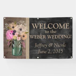 エレガントな花のメーソンジャーの結婚式 横断幕