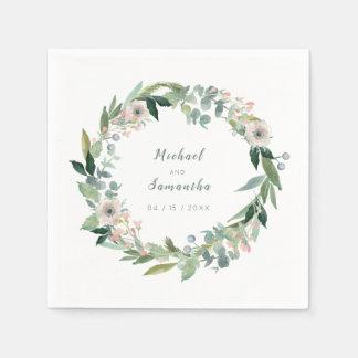 エレガントな花のリースの結婚式のナプキン スタンダードカクテルナプキン