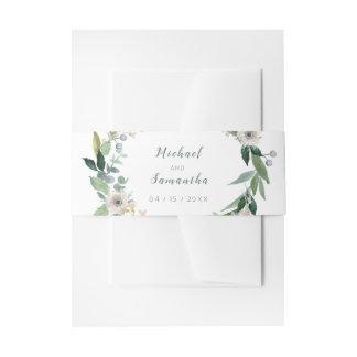 エレガントな花のリースの結婚式のBellyband 招待状ベリーバンド