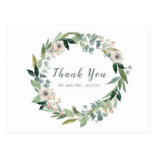 エレガントな花のリースの結婚式は郵便はがき感謝していしています ポストカード