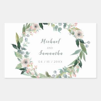 エレガントな花のリースの結婚式用シール 長方形シール