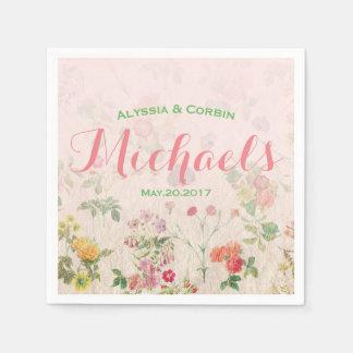 エレガントな花のロマンチックなピンクの結婚披露宴 スタンダードカクテルナプキン