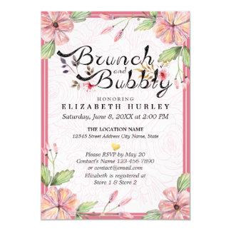 エレガントな花の原稿のブランチの快活なブライダルシャワー カード