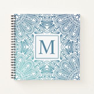 エレガントな花の曼荼羅のモノグラムのゲストブック ノートブック