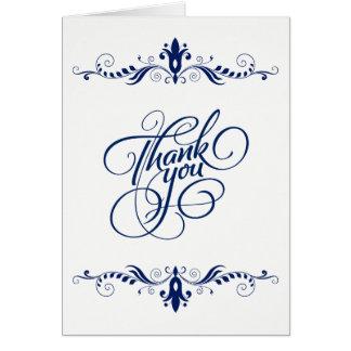 エレガントな花の海軍青いレースのサンキューカード グリーティングカード