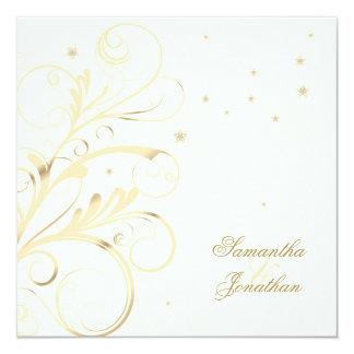 エレガントな花の渦巻の結婚式及びパーティの招待状 13.3 スクエアインビテーションカード