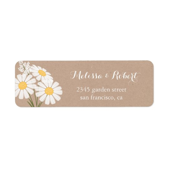 エレガントな花の白いデイジーの花束の結婚式 ラベル