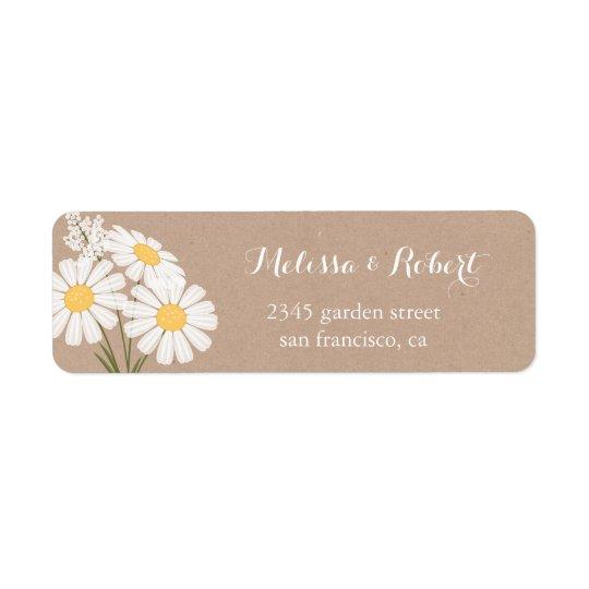 エレガントな花の白いデイジーの花束の結婚式 返信用宛名ラベル