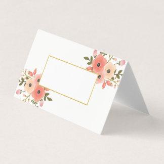 エレガントな花の結婚式によって折られる座席表 プレイスカード