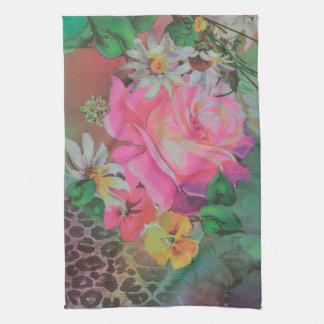 エレガントな花の花のチータの台所タオル キッチンタオル