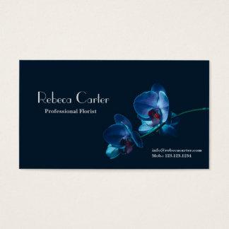 エレガントな花の花屋の濃紺の蘭カード 名刺