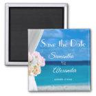 エレガントな花の青い海のビーチの保存日付 マグネット