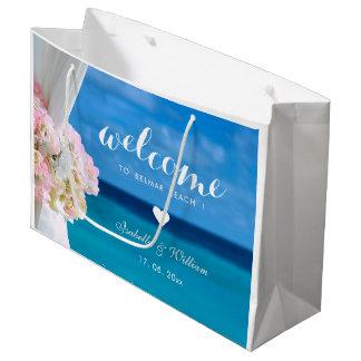 エレガントな花の青い海のビーチ結婚式 ラージペーパーバッグ
