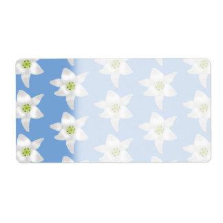 エレガントな花パターン。 青の白いユリ ラベル