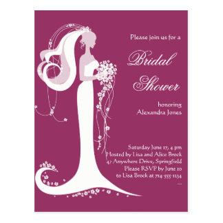 エレガントな花嫁のブライダルシャワーのパーティの招待状3 ポストカード