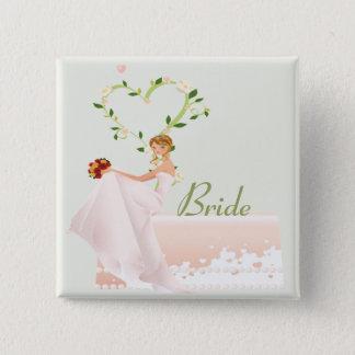 エレガントな花嫁ボタン 5.1CM 正方形バッジ