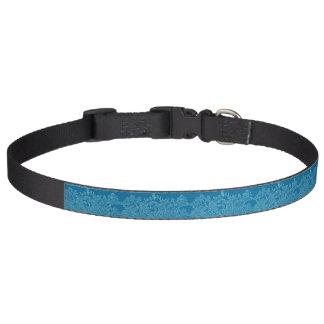 エレガントな花柄及び海洋波パターン(青い) ペット首輪