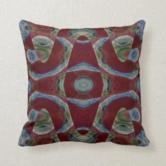 エレガントな茶色のあずき色の青の抽象芸術 クッション