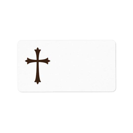 エレガントな茶色の十字のシンプルなスタイリッシュ 宛名ラベル