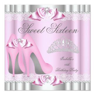 エレガントな菓子16のSweet sixteenのパーティーのピンクのレース カード