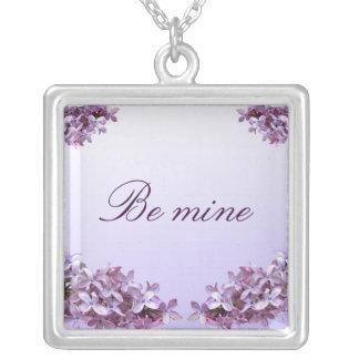 エレガントな薄紫のバレンタイン シルバープレートネックレス