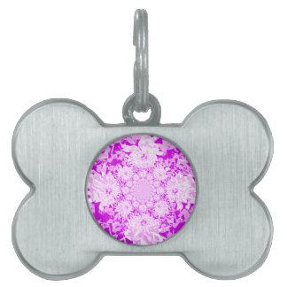 エレガントな薄紫の花のダリアの花模様 ペットネームタグ