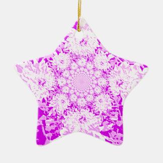 エレガントな薄紫の花のダリアの花模様 陶器製星型オーナメント