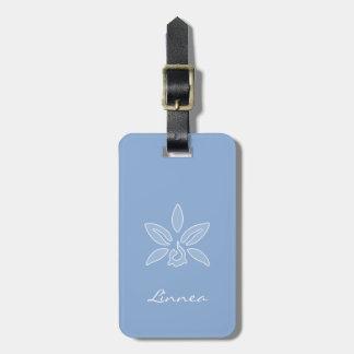 エレガントな蘭の名前のシンプルな淡いブルーの花 バッグタグ