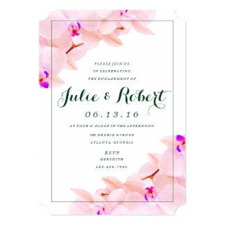 エレガントな蘭の婚約パーティの招待状 カード