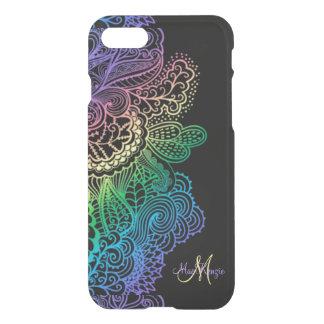 エレガントな虹のレースのモノグラムの黒のiPhone 7の場合 iPhone 8/7 ケース
