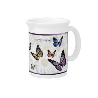 エレガントな蝶およびデイジーの磁器の水差し ピッチャー