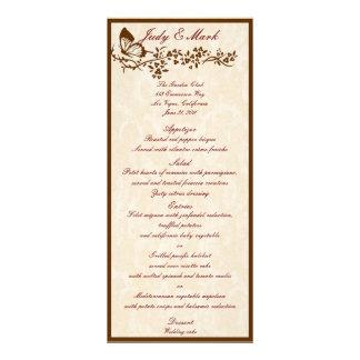 エレガントな蝶結婚式メニューカード パーソナライズラックカード