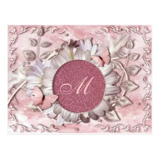 エレガントな蝶花の宝石のモノグラム ポストカード