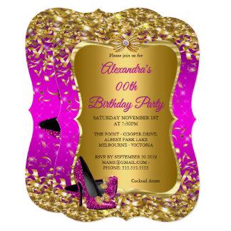 エレガントな誕生会のマゼンタの金ゴールドのハイヒール カード