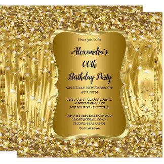エレガントな誕生会の金ゴールドのグリッターの紙吹雪 カード