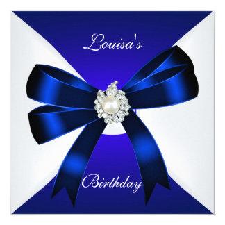 エレガントな誕生日の招待のロイヤルブルーの真珠の白 13.3 スクエアインビテーションカード