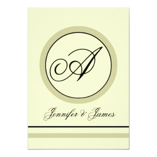 エレガントな賢人及びアイボリーのモノグラムの結婚式招待状 カード
