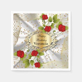 エレガントな赤いバラの花-テンプレート スタンダードカクテルナプキン