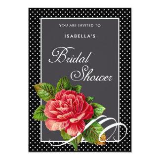 エレガントな赤いバラの黒の水玉模様のブライダルシャワー カード
