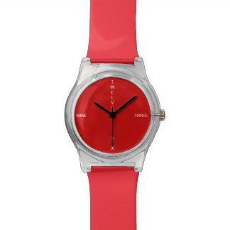 エレガントな赤い色のシンプル 腕時計