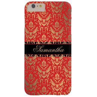 エレガントな赤および金ゴールドのきらめくのダマスク織の名前をカスタムする スキニー iPhone 6 PLUS ケース