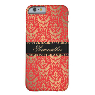 エレガントな赤および金ゴールドのきらめくのダマスク織の名前をカスタムする iPhone 6 ベアリーゼアケース