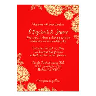 エレガントな赤および金ゴールドの結婚式招待状 12.7 X 17.8 インビテーションカード