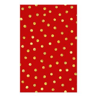 エレガントな赤および金ゴールドホイルの紙吹雪のドット・パターン 便箋