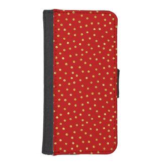 エレガントな赤および金ゴールドホイルの紙吹雪のドット・パターン 手帳 IPHONE5ケース