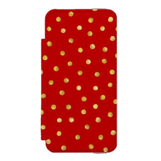 エレガントな赤および金ゴールドホイルの紙吹雪のドット・パターン INCIPIO WATSON™ iPhone 5 財布 ケース