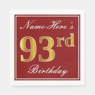 エレガントな赤、模造のな金ゴールドの第93誕生日 + 名前をカスタムする スタンダードランチョンナプキン
