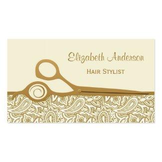 エレガントな金ゴールドおよびアイボリーのペイズリーのヘアーサロン